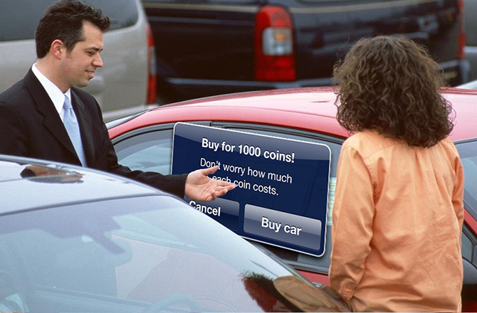 In-app purchases when buying cars