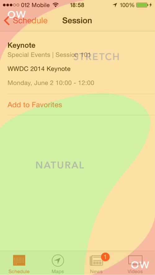 WWDC app in the Thumb Zone
