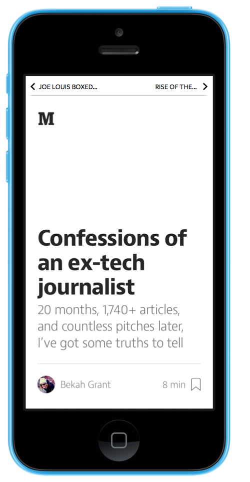 A mockup of what a minimized nav bar would look like in the Medium app